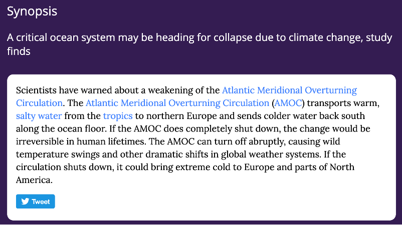 Synopsis: Scientists have warned about a weakening of the Atlantic Meridional Overturning Circulation. The Atlantic Meridional Overturning Circulation (AMOC) transports warm, salty water from the tropics to Northern Europe.