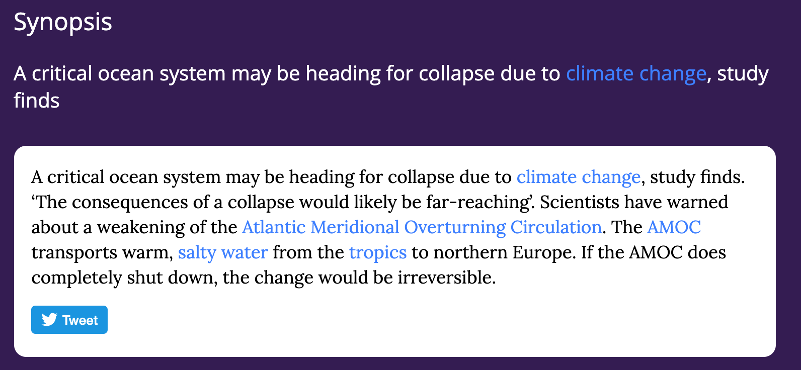 Synopsis: A critical ocean system may be heading for collapse due to climate change, study finds. 'The consequences of a collapse would likely be far-reaching'.
