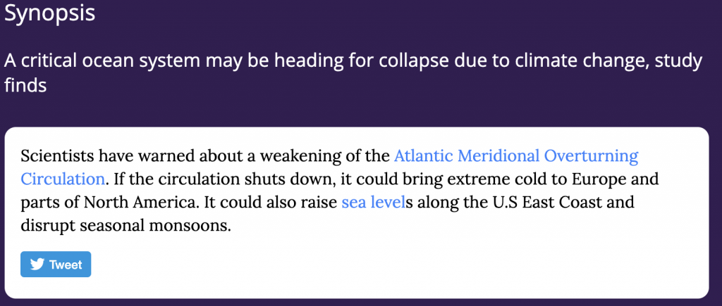 Synopsis: Scientists have warned about a weakening of the Atlantic Meridional Overturning Circulation.